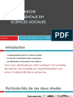 La Demarche Experimentale en Sciences Sociales