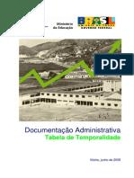 Tabela de Temporalidade documentos - meio (educação)