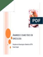 Anamnese e Exame Físico Em Ginecologia