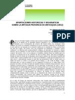 Apuntaciones Históricas y Geograficas Sobre La Antigua Provincia de Antioquia