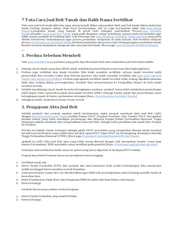 7 Tata Cara Jual Beli Tanah Dan Balik Nama Sertifikat