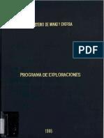 Estudios Formulacion Plan Nacional Desarrollo Minero Programa de Exploraciones 1985