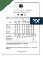 Aviso de Precios Combus. 03 Al 09 de Mar. de 2018