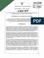 Decreto 718 Del 4 de Mayo de 2017