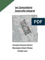 Plan Comuntario de Desarrollo Integral Consejo Comunal Sarare Munucipios Simon Planas (1) (1)