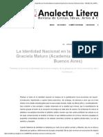 La Identidad Nacional en La Literatura Argentina Por Graciela Maturo (Academia Nacional de Ciencias de Buenos Aires) - ANALECTA LITERARIA