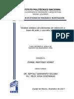 TESIS. Análisis Estático de Elementos de Retención a Base de Pilas y Concreto Lanzado. B150940