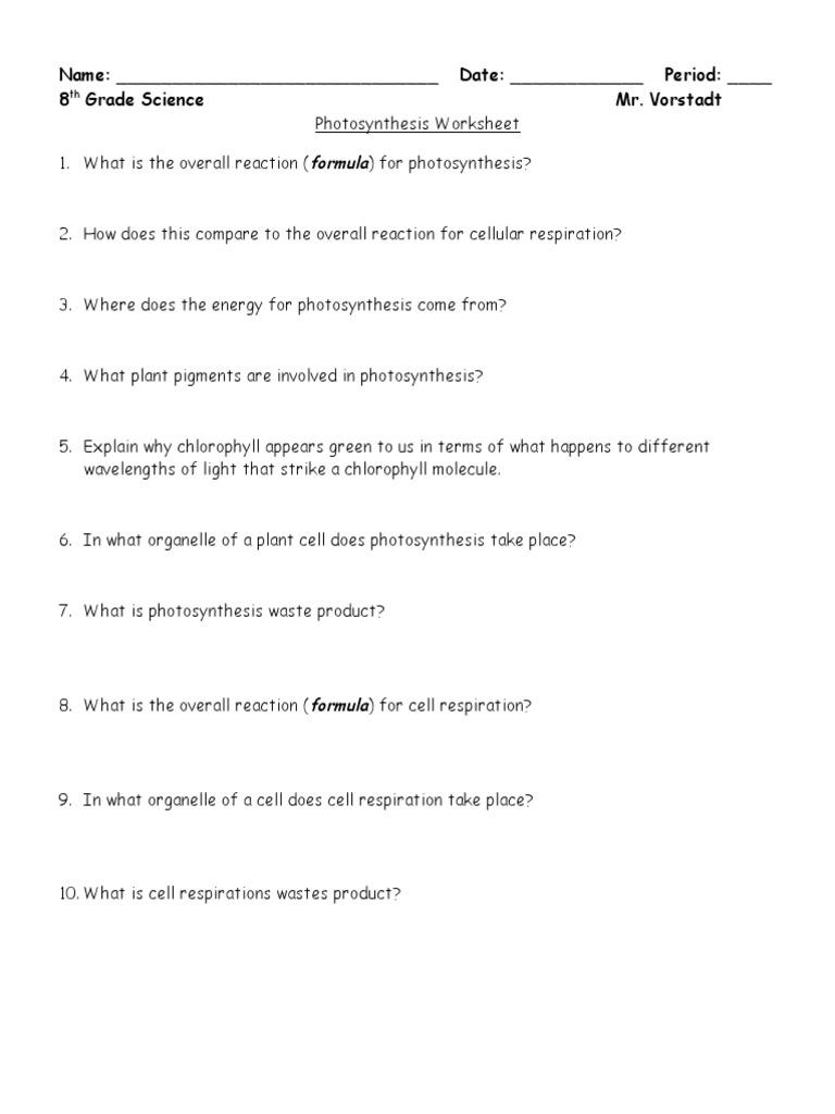 Photosynthesis Worksheet  Photosynthesis  Cellular Respiration Pertaining To Photosynthesis Worksheet Answer Key