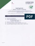 Certificado de Calidad de Inhibidor Hold Tight