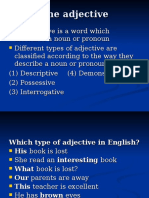 MT Lecture 5 Grammatical Structure and the NP (the Adjective) Student Copy
