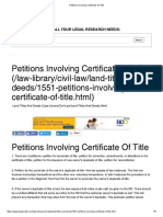 Petitions Involving Certificate of Title