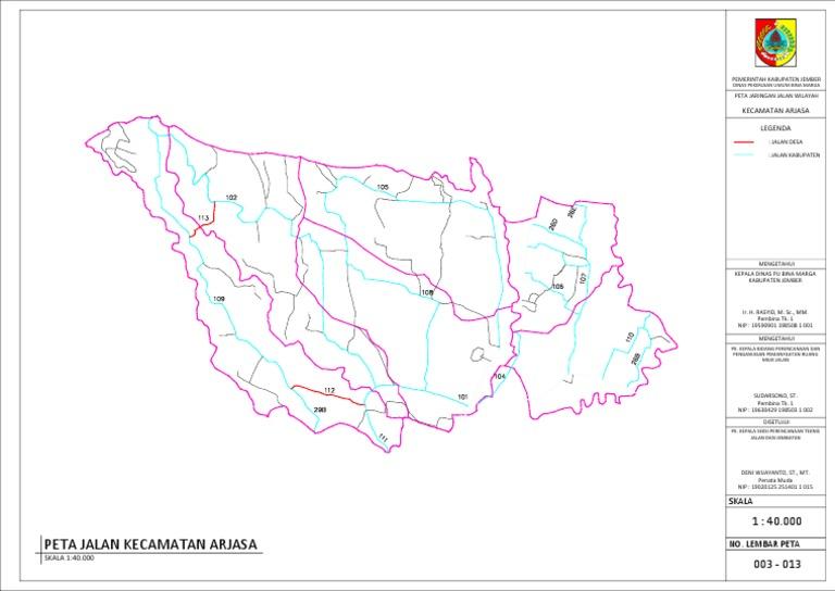 Peta Jalan Kecamatan Arjasa Kabupaten Jember