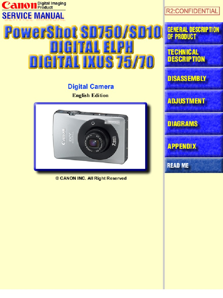 CANON PowerShot SD10, PowerShot SD750, Digital Elph, Digital Ixus 70, 75 Service  Manual - NO PARTS LIST | Autofocus | Exposure (Photography)