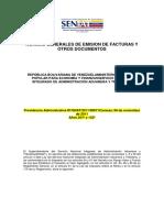 Providencia Administrativa 0071 Normas Generales de Emision de Facturas y Otros Documentos
