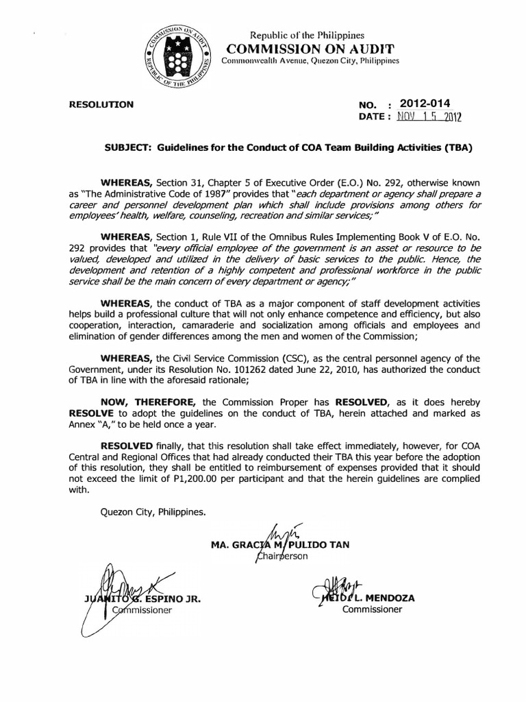 COA Resolution 2012 014 Guidelines On Conduct Of Team