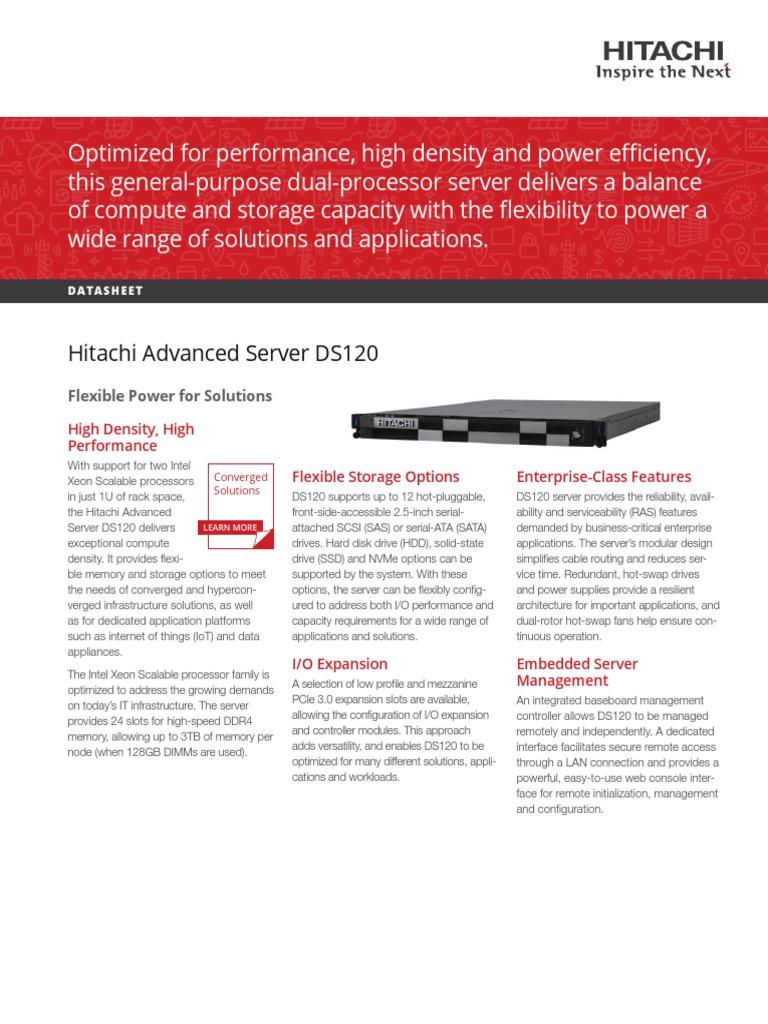 Hitachi Datasheet Advanced Server Ds120 | Unidad de estado sólido