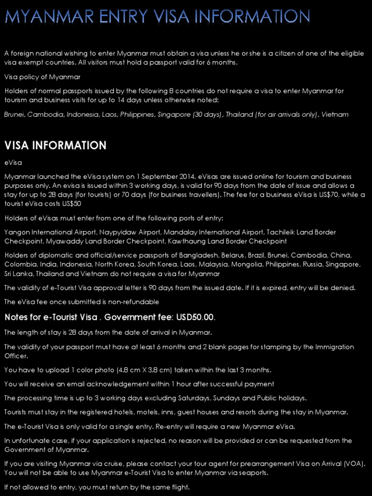 Myanmar Evisa How To Get A Tourist Visa Online For Myanmar Myanmar Entry Visa Information Immigration Law Travel Visa