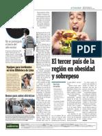 El Tercer País de La Región en Obesidad y Sobrepeso