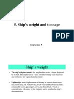 C5 Ships WeightANDtonnage
