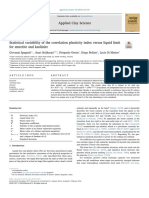 Statistical Variability of the Correlation Plasticity Index Versus Liquid Limit for Smectite and Kaolinite