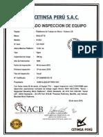 Certificado Gam Equipo Haulotte Tijera Scissor Lift h15sx Serie Cd111047 Año 2006