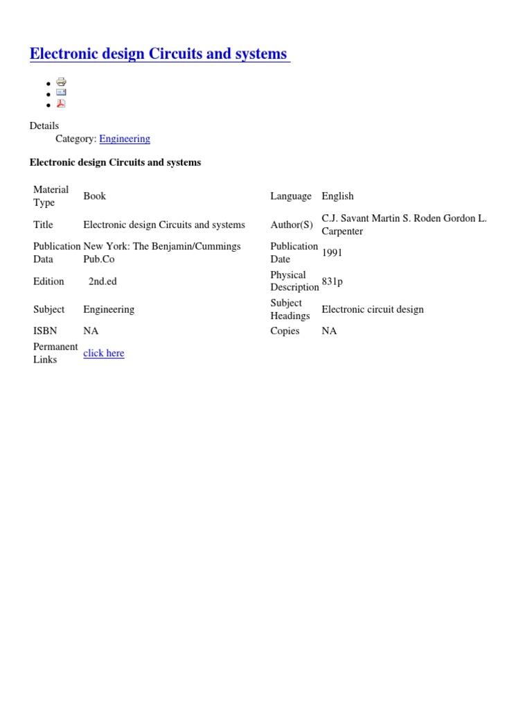 filecd8cbb8537814de3abf2fc1a81e62181 pdfElectronic Circuit Design By Cj Savant #16