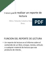 Pasos Para Realizar Un Reporte de Lectura