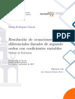 Resolucion de Ecuaciones Diferenciales Lineales de Segundo Orden Con Coeficientes Variables. Metodo de Frobenius.