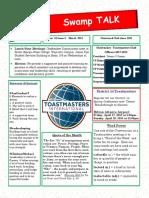 Swamp Talk, Okefenokee Toastmasters Club newsletter, March 2018
