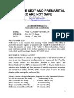 "Why ""Safe Sex"" is Not Safe"