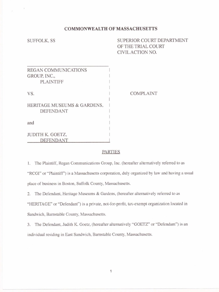 Regan Vs Heritage Suit Lawsuit Complaint