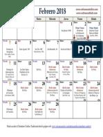 Calendario Liturgico Tradicional Febrero 2018