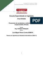 Investigacion de Accidentes Ocupacionales y Prevencion de Riesgos