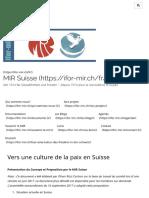 Vers Une Culture de La Paix en Suisse – MIR Suisse