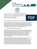 Caracteristicas Basicas de La Organizacion y La Gestion Solidaria