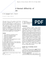 Specific Heat and Thermal Diffusivity of Hardening Concrete