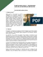 Principios de Mwetalurgia Física y Propiedades Fundamentales de Los Materiales