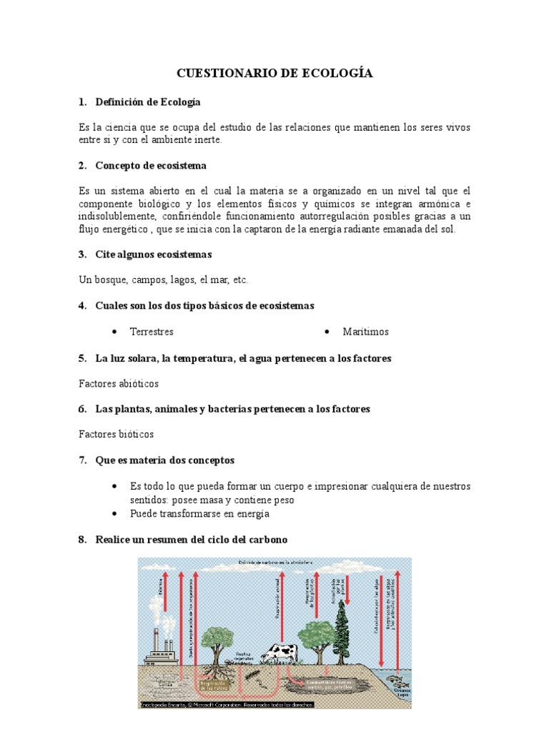 Cuestionario de ecolog a for Cuarto definicion