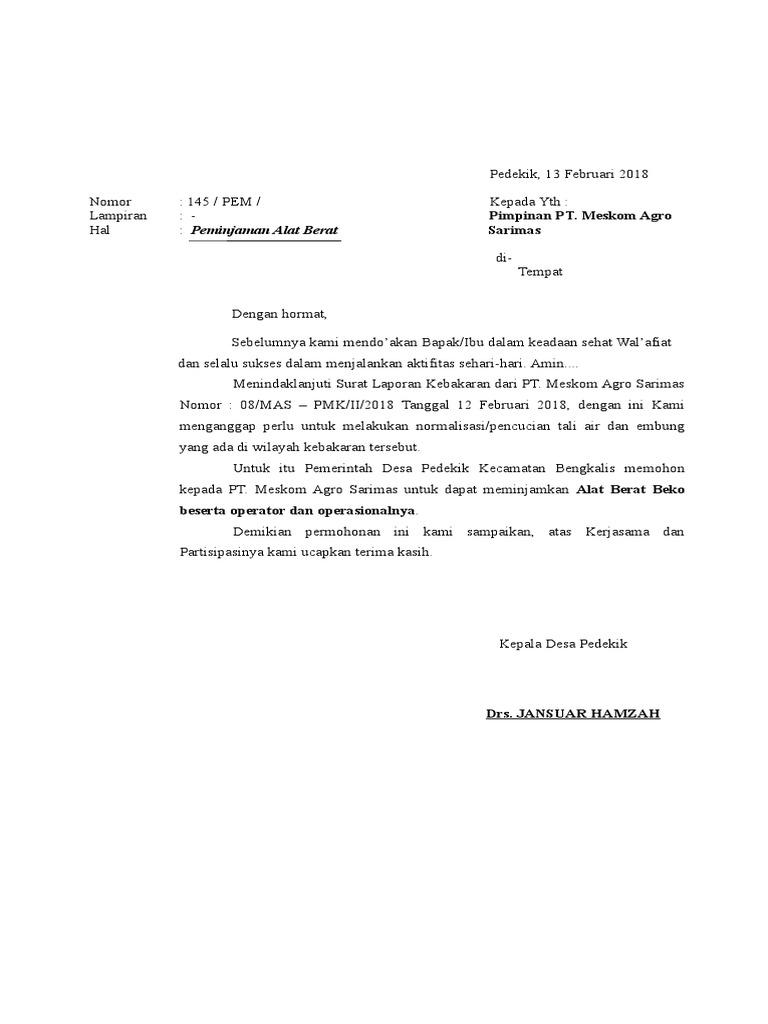 Contoh Surat Peminjaman Alat Berat