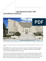 Mode of Judges' Appointment Under 18th Amendment Criticised - Pakistan - DAWN