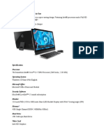Dell All in One PC Desktop Specification