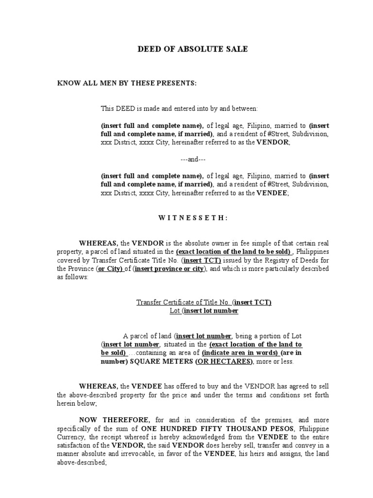 deed of sale Deed of sale of motor vehicle know all men by these presents: that i, (name of seller), filipino, of legal age, a resident of ( address of seller ), is the lawful owner of a certain motor vehicle which is more particularly described as follows.