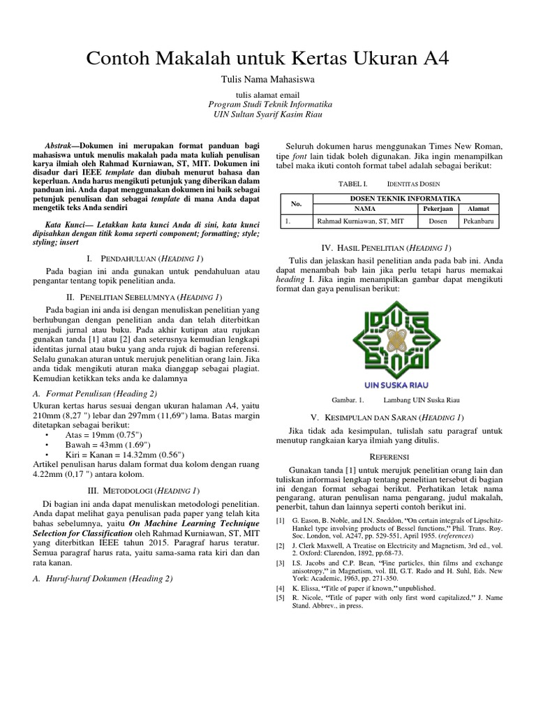 Format Makalah Academic Writing Dalam Bahasa Indonesia