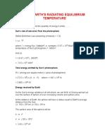Earth's Radiating Equilibrium Temperature.doc