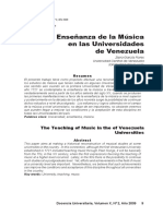 Enseñanza de La Musica en Universidades Venezolanas