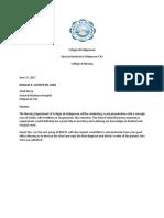 Letter for Chart