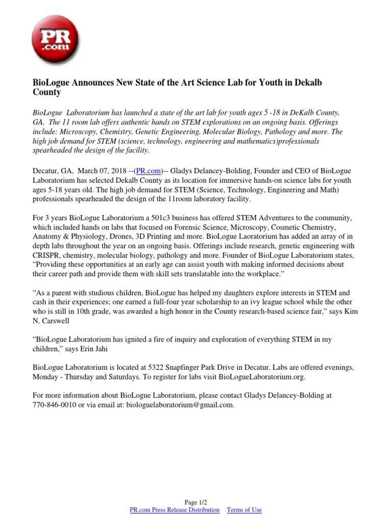 BioLogue Announces New State of the Art Science Lab for Youth in Dekalb  County | Science, Technology, Engineering, And Mathematics | Earth & Life  Sciences