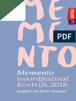 brochure 2018 Memento Woordfestival Kortrijk