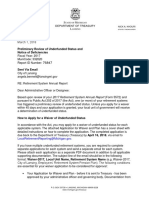 State Letter to Lansing Regarding Preliminary Review