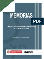 Memorias Primer Encuentro Nacional de Investigadores de Genero
